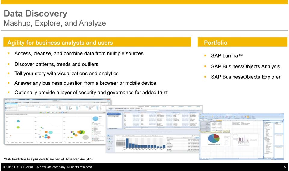a browser or mobile device SAP BusinessObjects Analysis SAP BusinessObjects Explorer Optionally provide a layer of security and governance