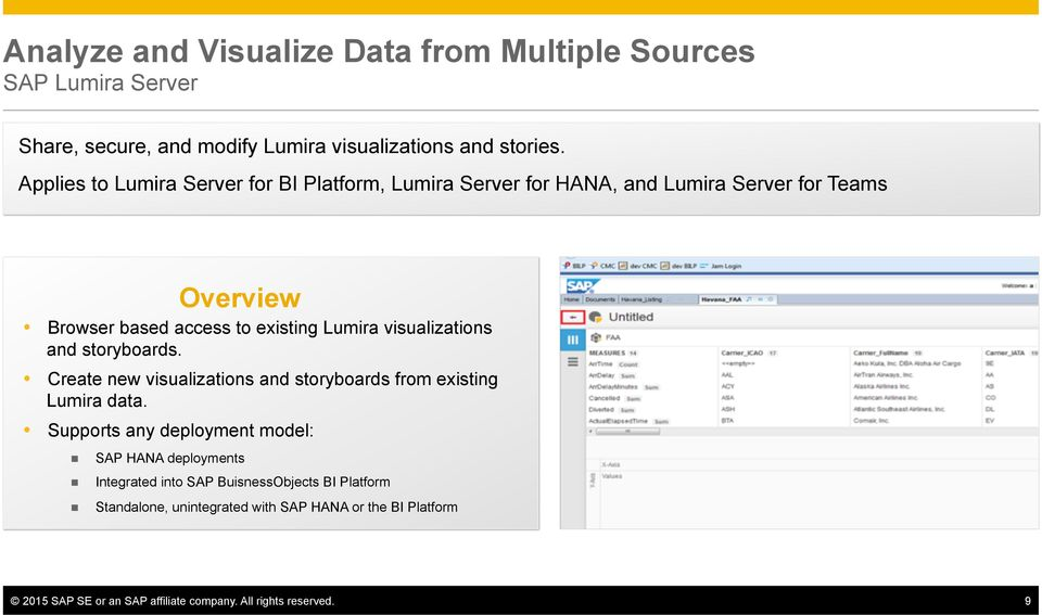 and storyboards. Create new visualizations and storyboards from existing Lumira data.