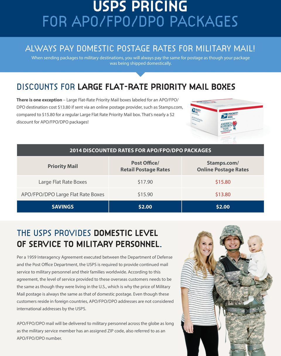 DISCOUNTS FOR LARGE FLAT-RATE PRIORITY MAIL BOXES There is one exception Large Flat-Rate Priority Mail boxes labeled for an APO/FPO/ DPO destination cost $13.