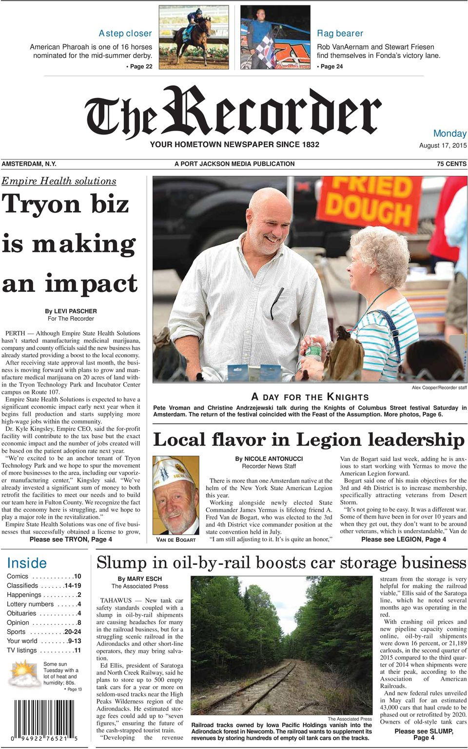 A PORT JACKSON MEDIA PUBLICATION 75 CENTS Empire Health solutions Tryon biz is making an impact By LEVI PASCHER For The Recorder PERTH Although Empire State Health Solutions hasn t started