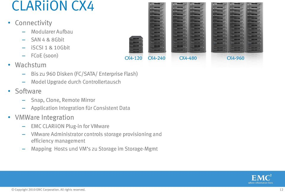 Integration für Consistent Data VMWare Integration EMC CLARiiON Plug-in for VMware VMware Administrator controls