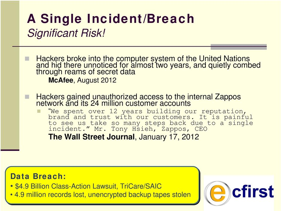 August 2012 Hackers gained unauthorized access to the internal Zappos network and its 24 million customer accounts We spent over 12 years building our reputation,
