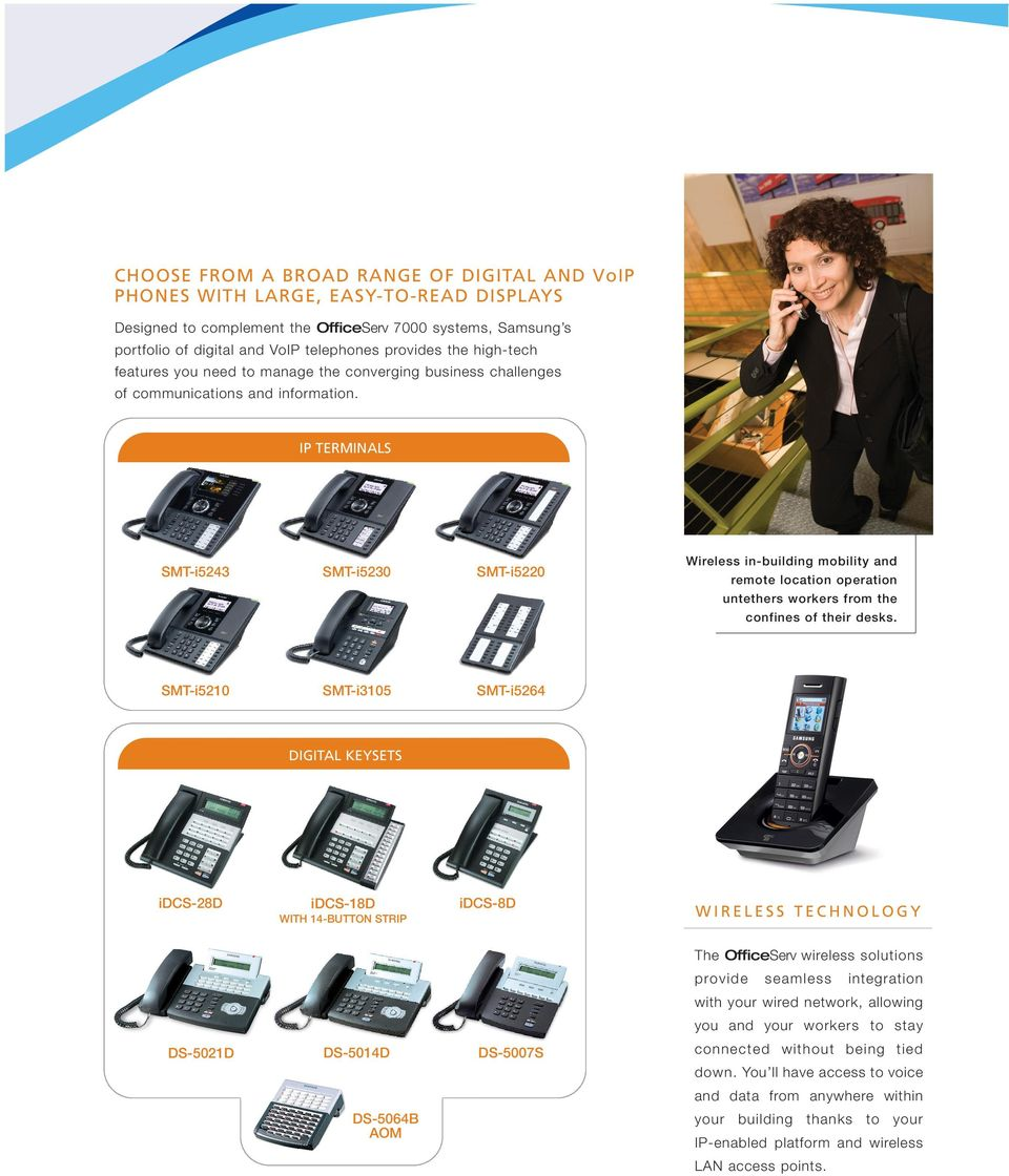 IP TERMINALS SMT-i5243 SMT-i5230 SMT-i5220 SMT-i5210 SMT-i3105 SMT-i5264 Wireless in-building mobility and remote location operation untethers workers from the confines of their desks.