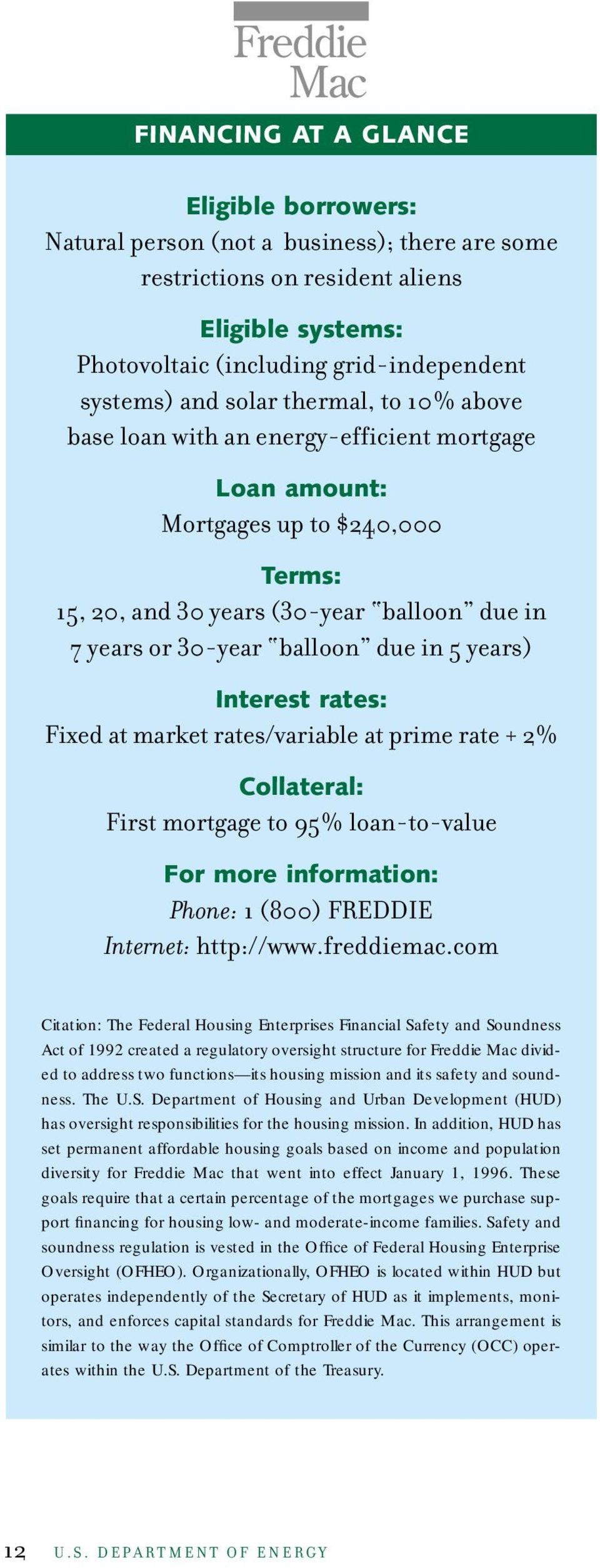balloon due in 5 years) Interest rates: Fixed at market rates/variable at prime rate + 2% Collateral: First mortgage to 95% loan-to-value For more information: Phone: 1 (800) FREDDIE Internet:
