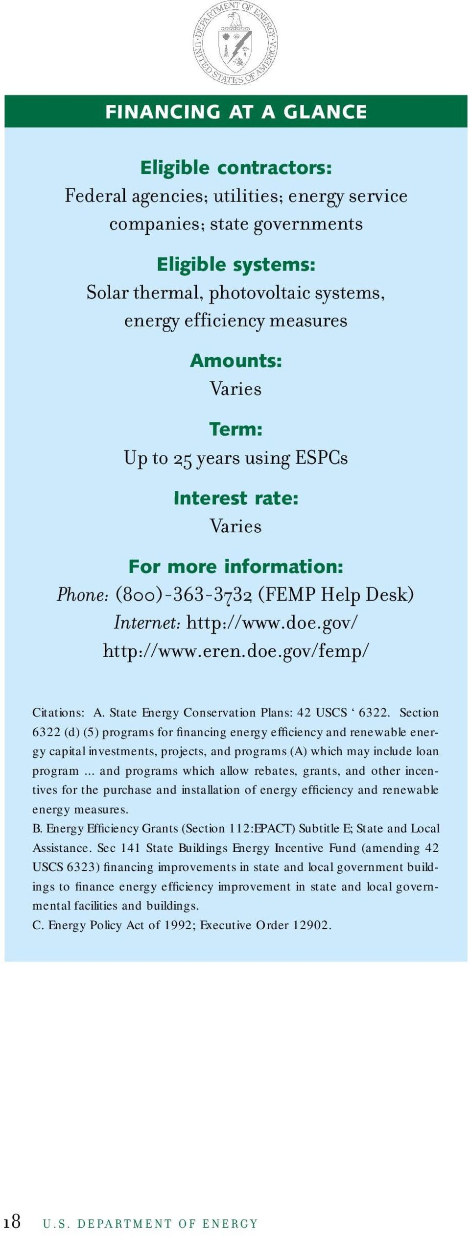 State Energy Conservation Plans: 42 USCS 6322.