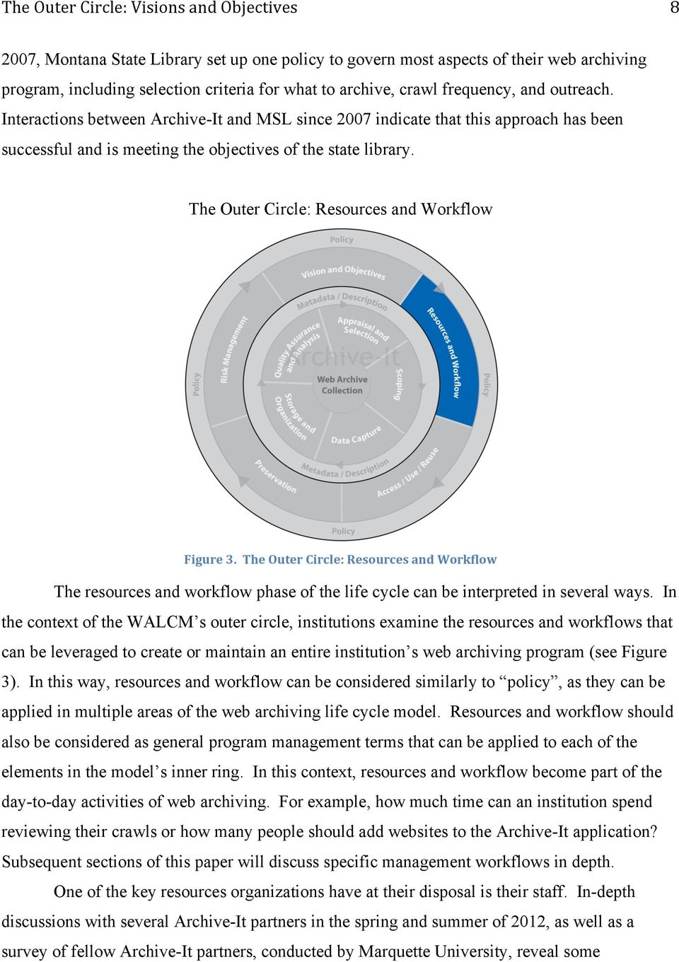 The Outer Circle: Resources and Workflow Figure 3. The Outer Circle: Resources and Workflow The resources and workflow phase of the life cycle can be interpreted in several ways.