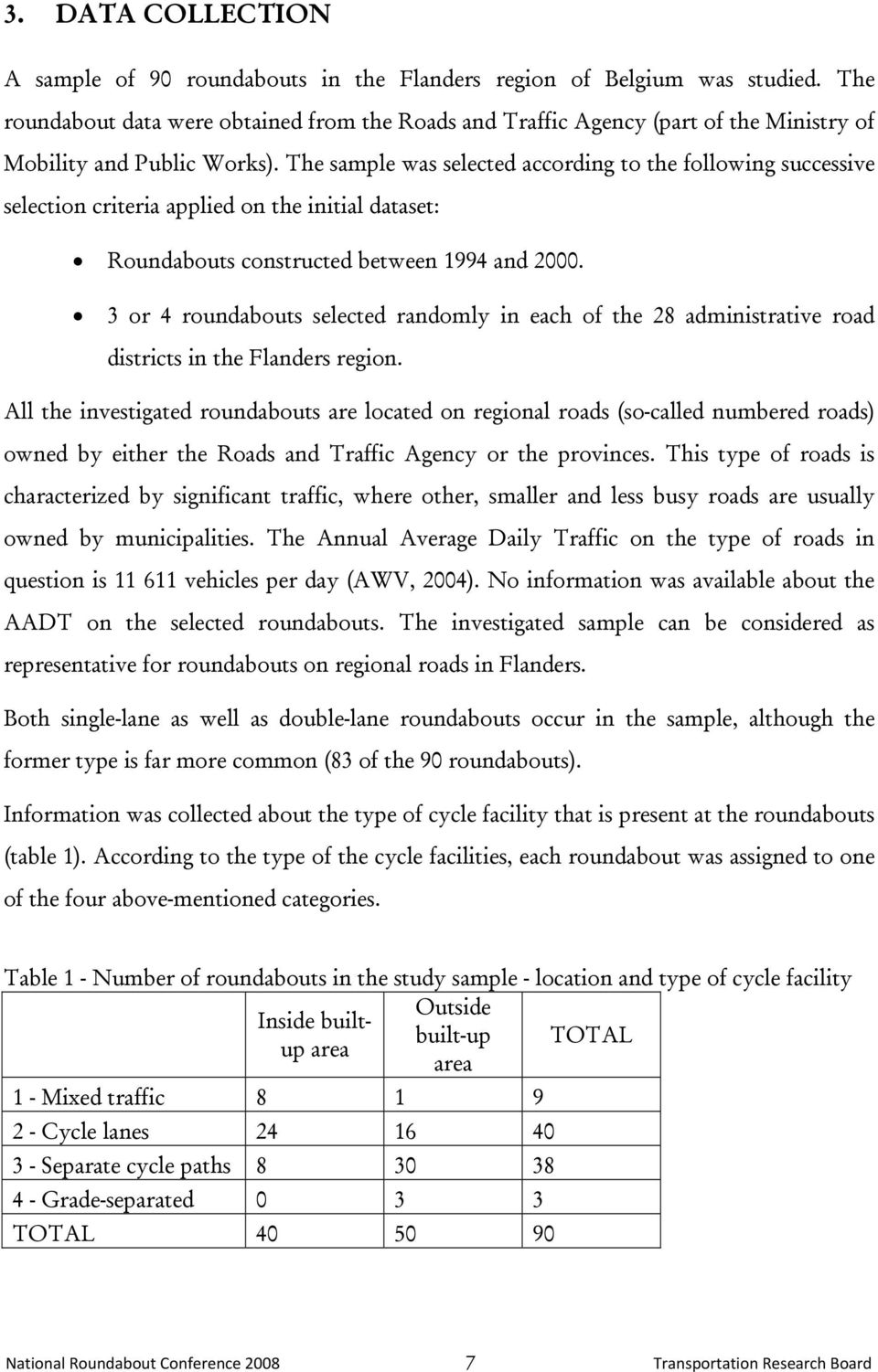 The sample was selected according to the following successive selection criteria applied on the initial dataset: Roundabouts constructed between 1994 and 2000.