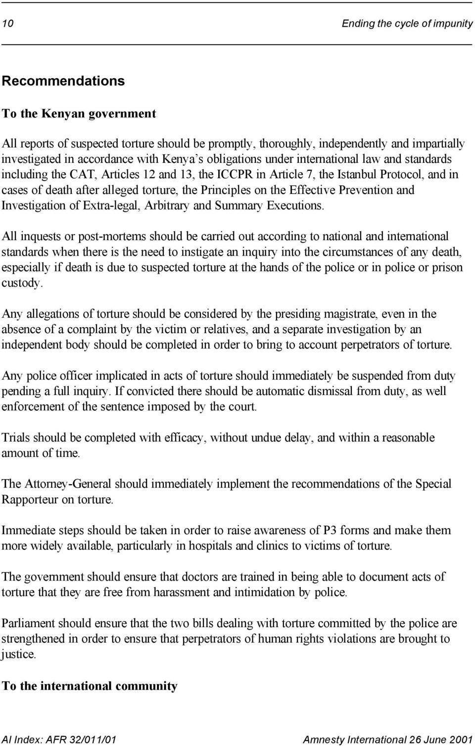 Principles on the Effective Prevention and Investigation of Extra-legal, Arbitrary and Summary Executions.