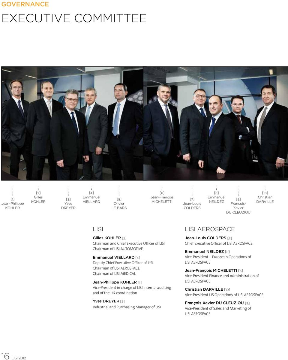 Executive Officer of LISI Chairman of LISI AEROSPACE Chairman of LISI MEDICAL Jean-Philippe KOHLER [1] Vice-President in charge of LISI internal auditing and of the HR coordination Yves DREYER [3]