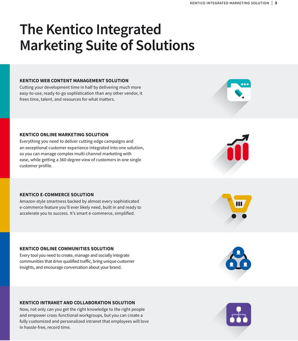 KENTICO ONLINE MARKETING SOLUTION Everything you need to deliver cutting-edge campaigns and an exceptional customer experience integrated into one solution, so you can manage complex multi-channel