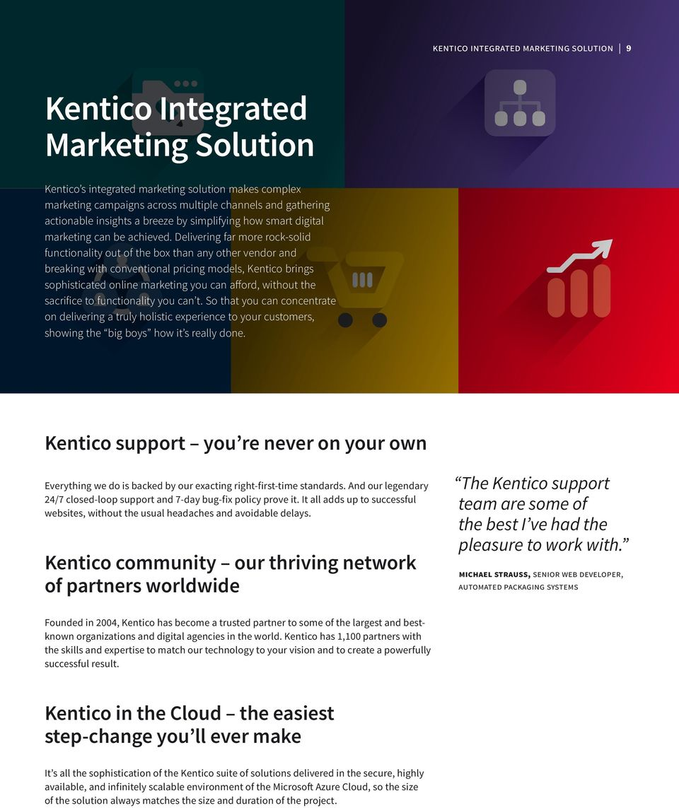 Delivering far more rock-solid functionality out of the box than any other vendor and breaking with conventional pricing models, Kentico brings sophisticated online marketing you can afford, without