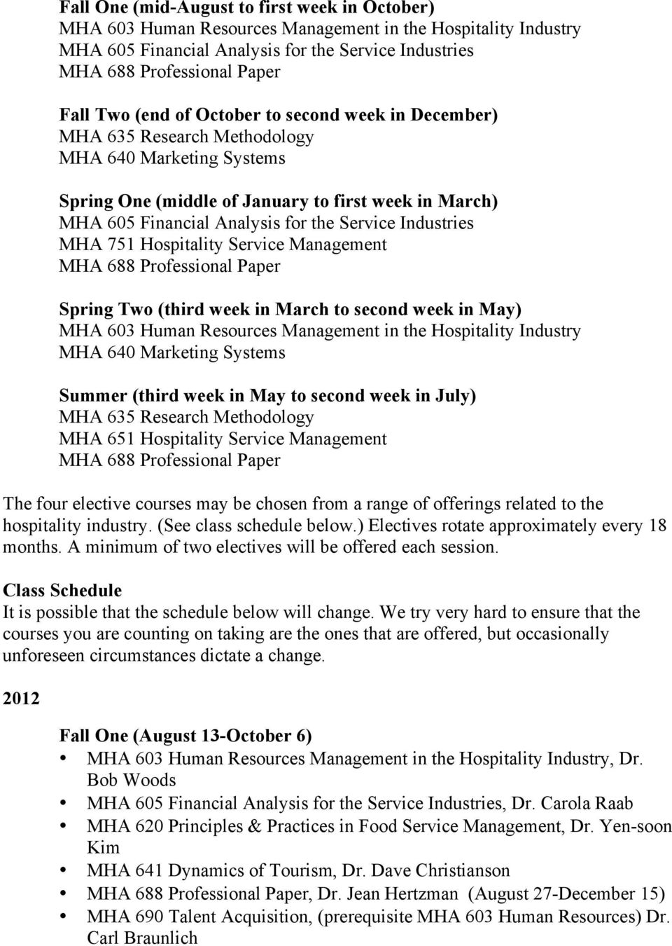 Industries MHA 751 Hospitality Service Management MHA 688 Professional Paper Spring Two (third week in March to second week in May) MHA 603 Human Resources Management in the Hospitality Industry MHA