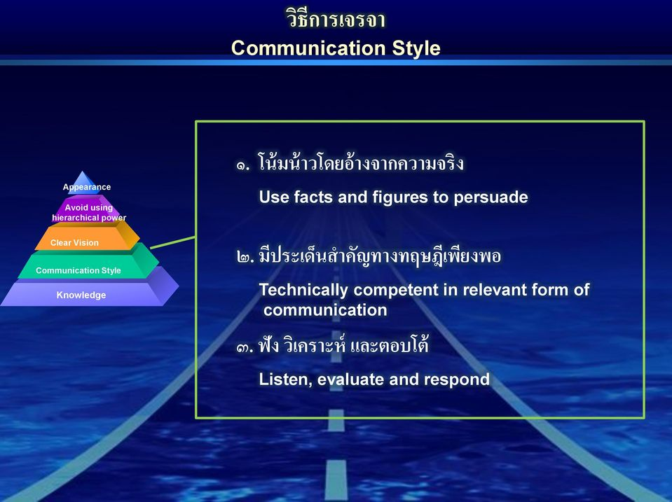 Communication Style Knowledge Use facts and figures to persuade ๒.