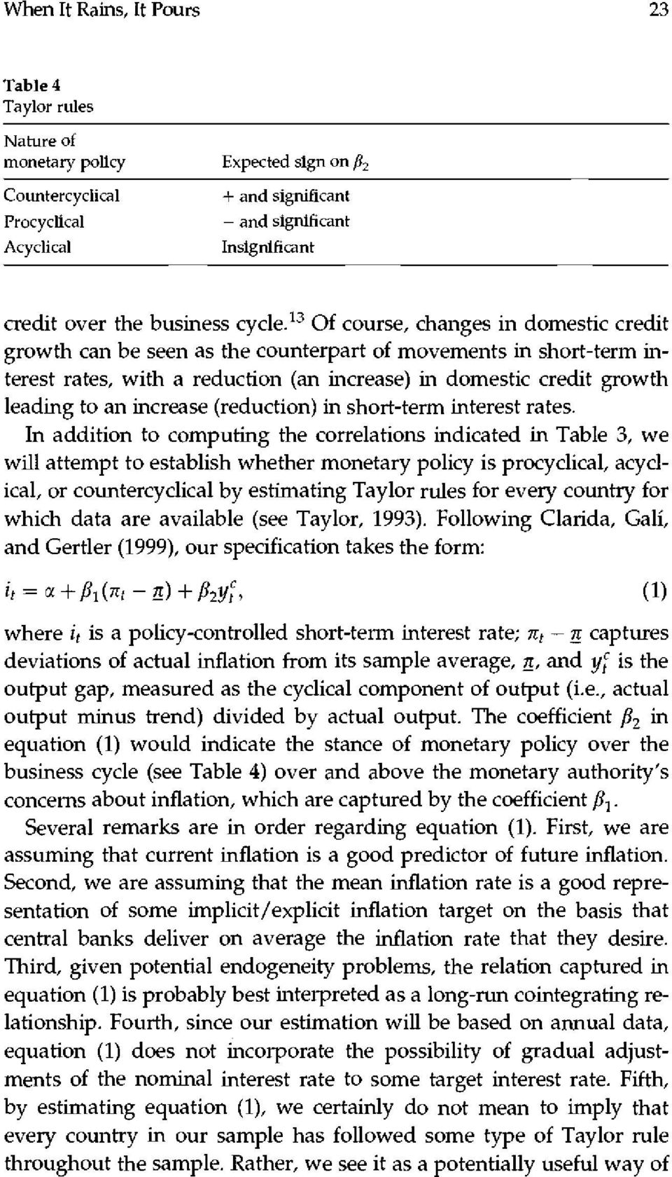 13 Of course, changes in domestic credit growth can be seen as the counterpart of movements in short-term interest rates, with a reduction (an increase) in domestic credit growth leading to an