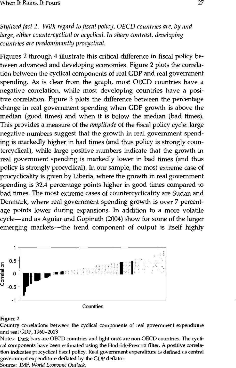 Figure 2 plots the correlation between the cyclical components of real GDP and real government spending.