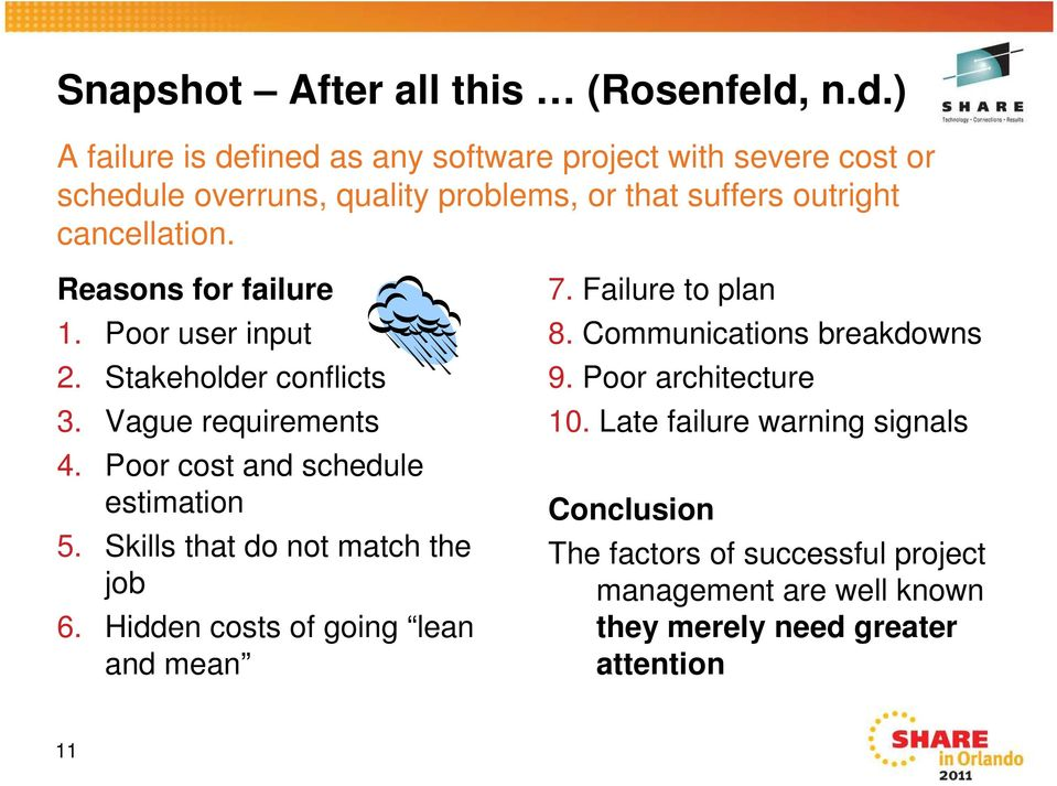 Reasons for failure 1. Poor user input 2. Stakeholder conflicts 3. Vague requirements 4. Poor cost and schedule estimation 5.