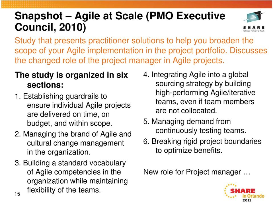 Establishing guardrails to ensure individual Agile projects are delivered on time, on budget, and within scope. 2. Managing the brand of Agile and cultural change management in the organization. 3.