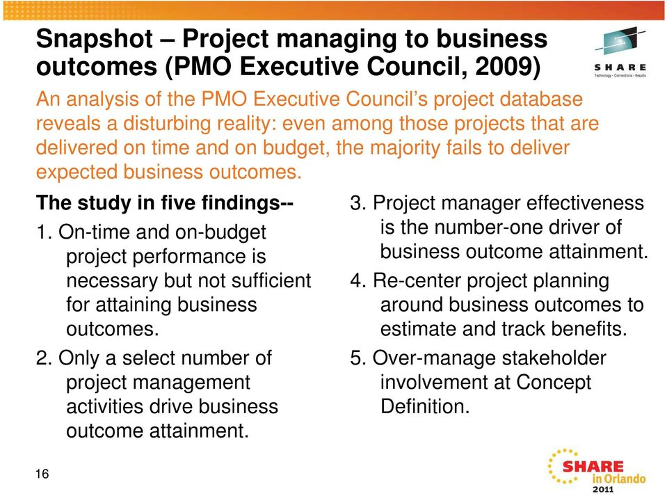 On-time and on-budget project performance is necessary but not sufficient for attaining business outcomes. 2.