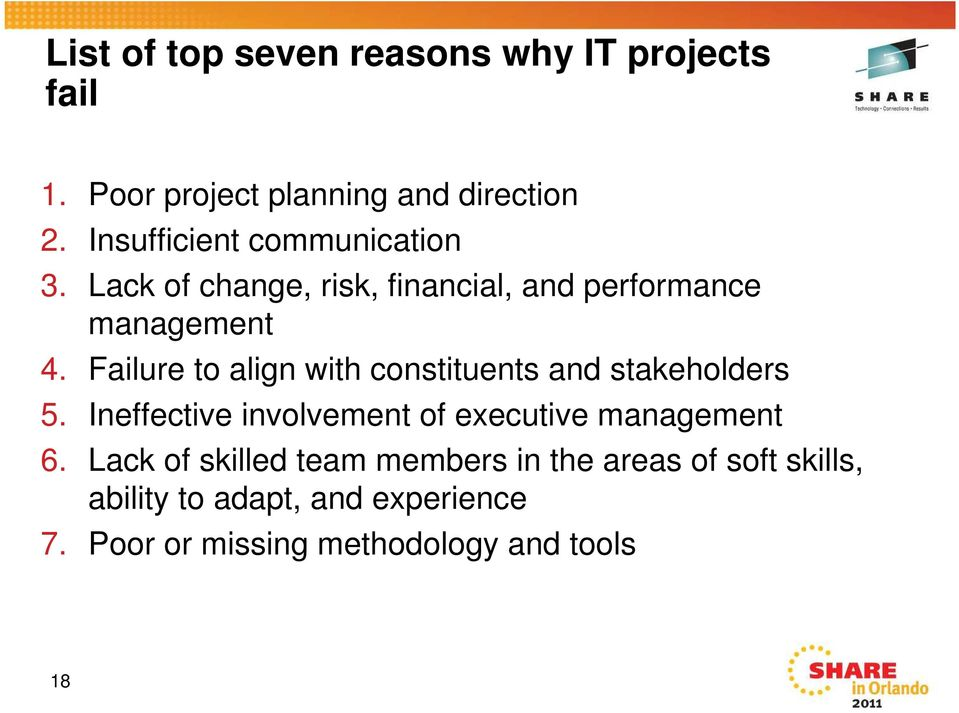 Failure to align with constituents and stakeholders 5. Ineffective involvement of executive management 6.
