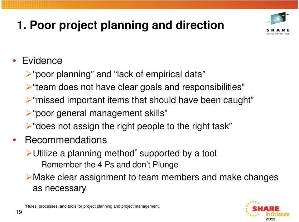 people to the right task Recommendations Utilize a planning method * supported by a tool Remember the 4 Ps and don t Plunge Make
