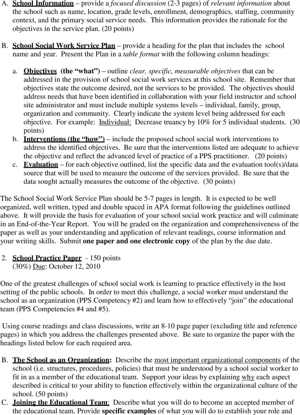 School Social Work Service Plan provide a heading for the plan that includes the school name and year. Present the Plan in a table format with the following column headings: a.