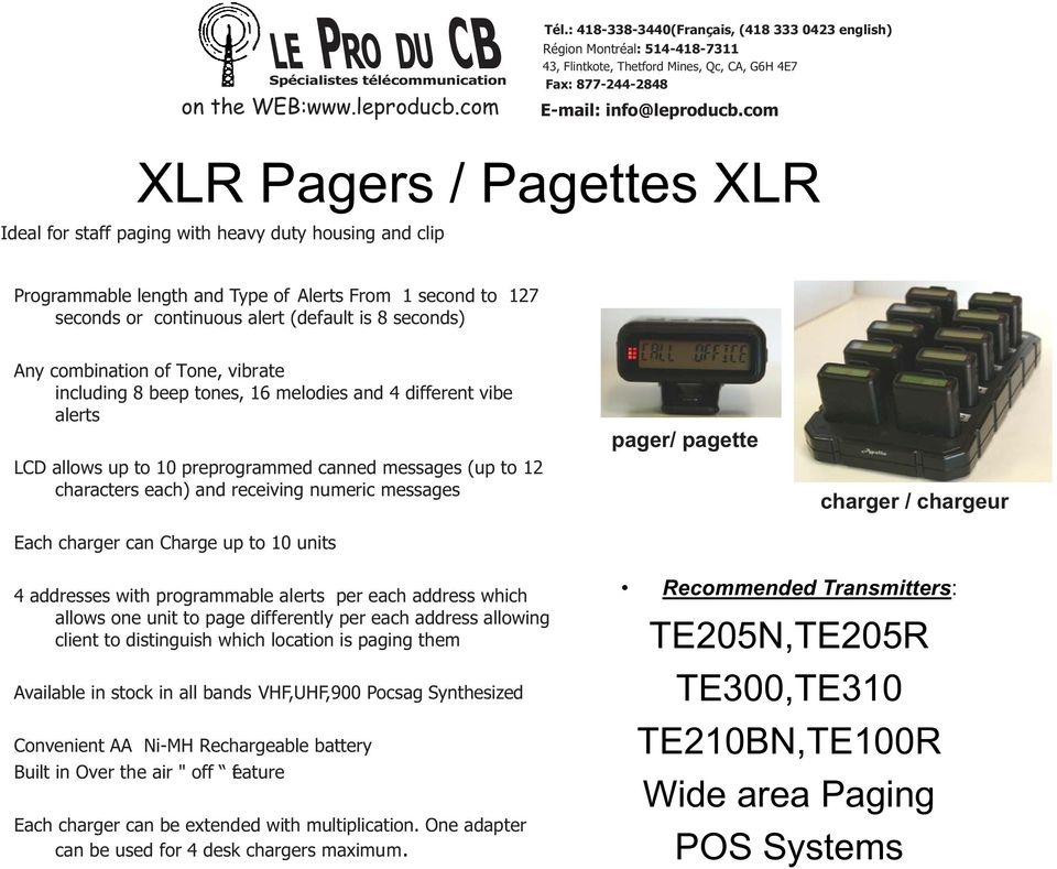 messages Each charger can Charge up to 10 units pager/ pagette charger / chargeur 4 addresses with programmable alerts per each address which allows one unit to page differently per each address