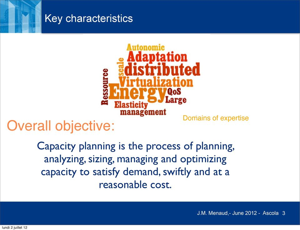 sizing, managing and optimizing capacity to satisfy demand,