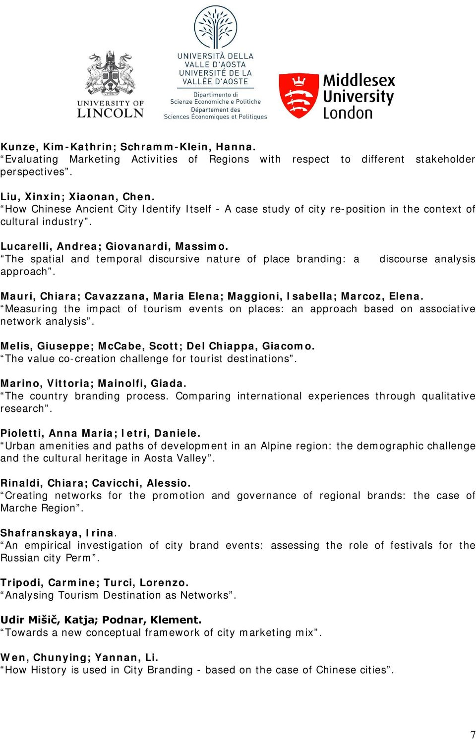 The spatial and temporal discursive nature of place branding: a approach. discourse analysis Mauri, Chiara; Cavazzana, Maria Elena; Maggioni, Isabella; Marcoz, Elena.