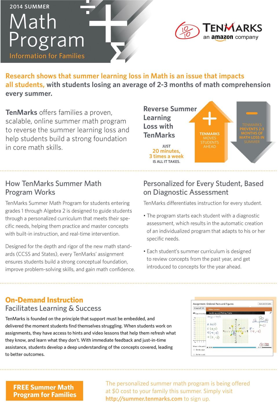 Reverse Summer Learning Loss with TenMarks JUST 20 minutes, 3 times a week IS ALL IT TAKES.