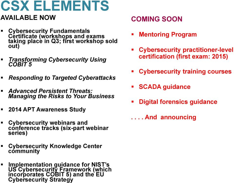 webinar series) COMING SOON Mentoring Program Cybersecurity practitioner-level certification (first exam: 2015) Cybersecurity training courses SCADA guidance Digital forensics