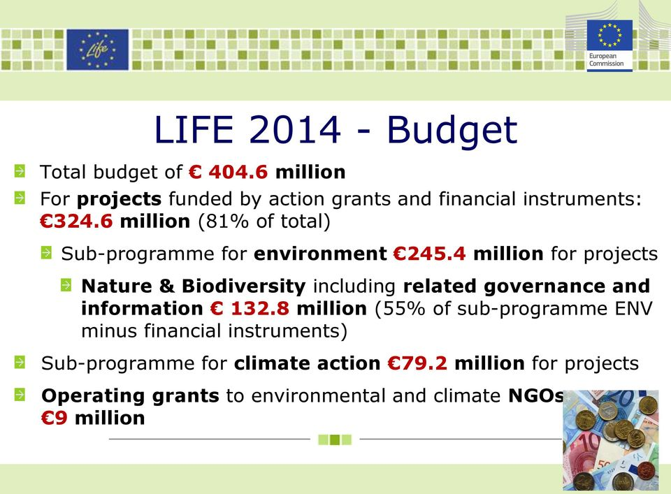 6 million (81% of total) Sub-programme for environment 245.