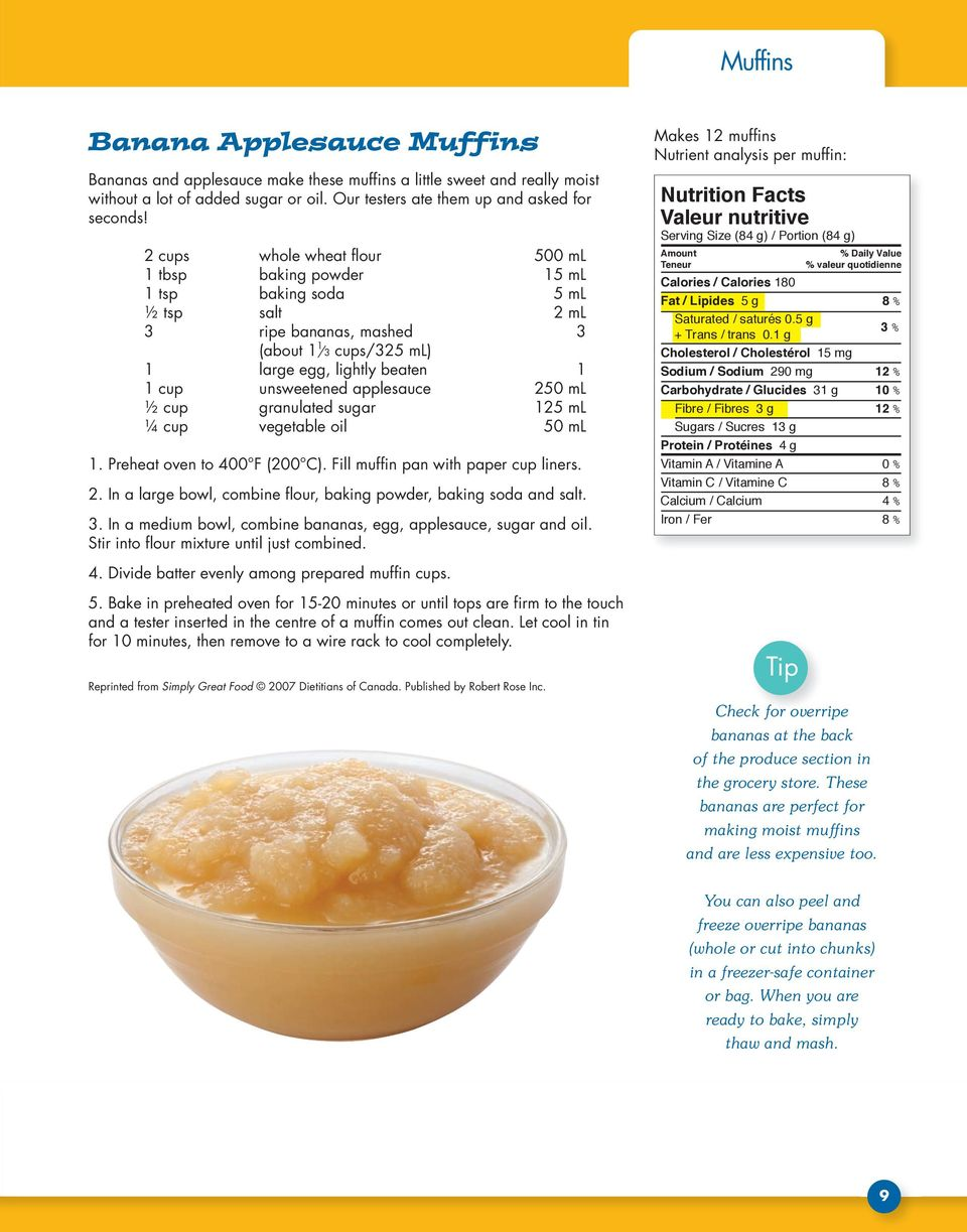 applesauce 250 ml ½ cup granulated sugar 125 ml ¼ cup vegetable oil 50 ml 1. Preheat oven to 400 F (200 C). Fill muffin pan with paper cup liners. 2. In a large bowl, combine flour, baking powder, baking soda and salt.