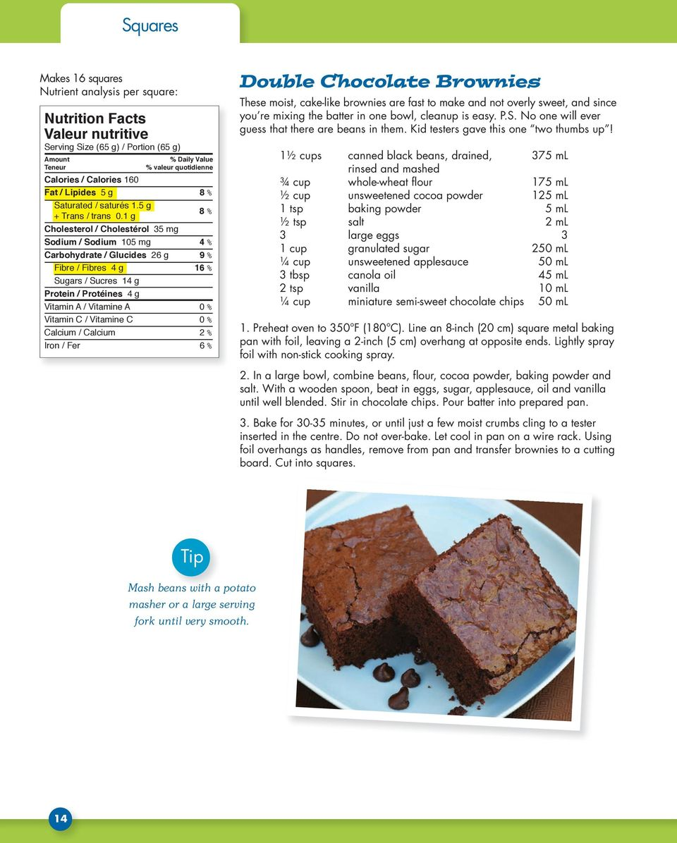 Vitamin C / Vitamine C 0 % Calcium / Calcium 2 % Iron / Fer 6 % Double Chocolate Brownies These moist, cake-like brownies are fast to make and not overly sweet, and since you re mixing the batter in