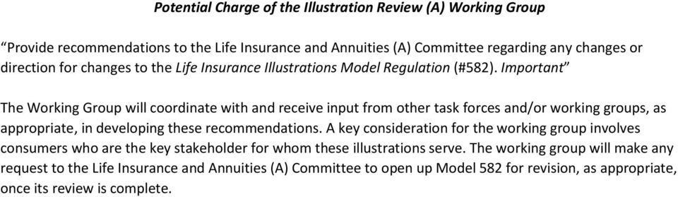 Important The Working Group will coordinate with and receive input from other task forces and/or working groups, as appropriate, in developing these recommendations.