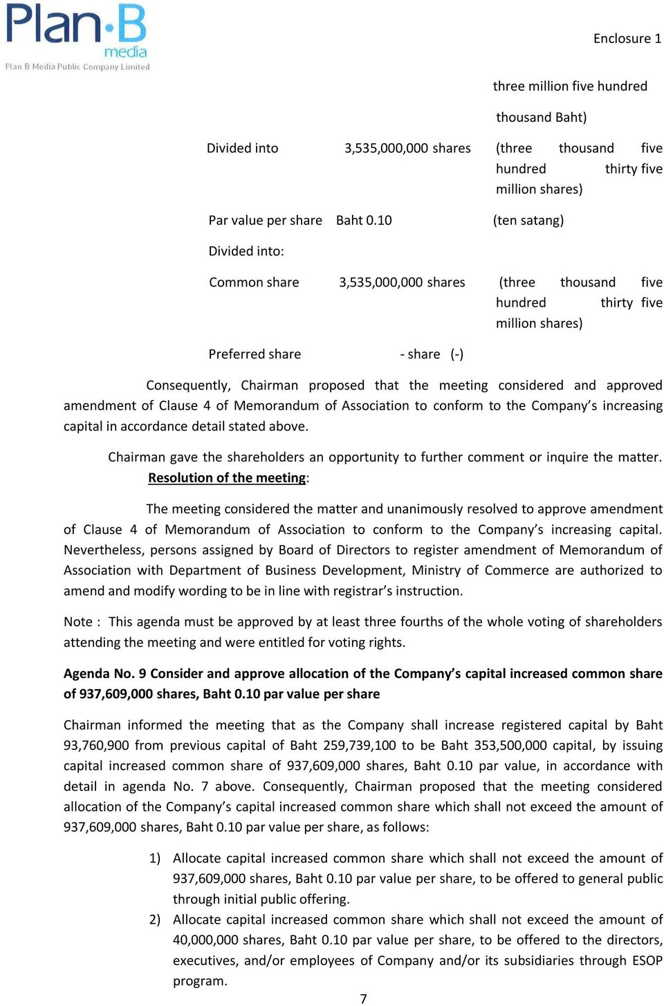 considered and approved amendment of Clause 4 of Memorandum of Association to conform to the Company s increasing capital in accordance detail stated above.