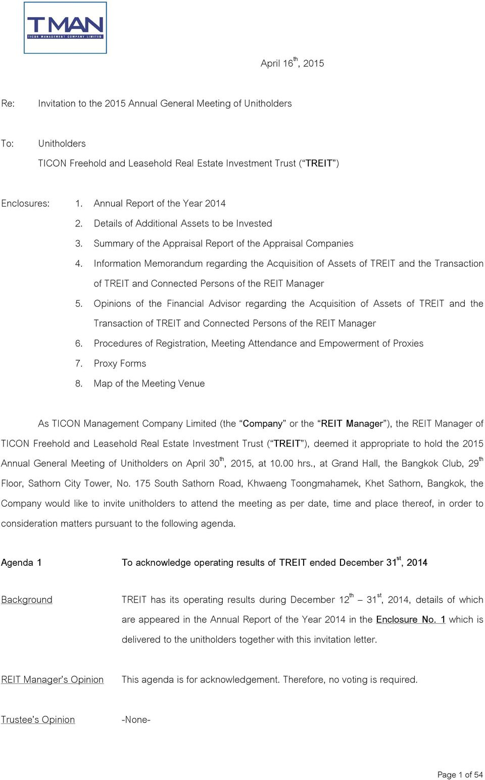 Information Memorandum regarding the Acquisition of Assets of TREIT and the Transaction of TREIT and Connected Persons of the REIT Manager 5.