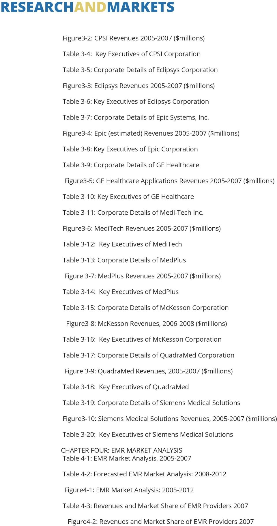 Figure3-4: Epic (estimated) Revenues 2005-2007 ($millions) Table 3-8: of Epic Corporation Table 3-9: Corporate Details of GE Healthcare Figure3-5: GE Healthcare Applications Revenues 2005-2007