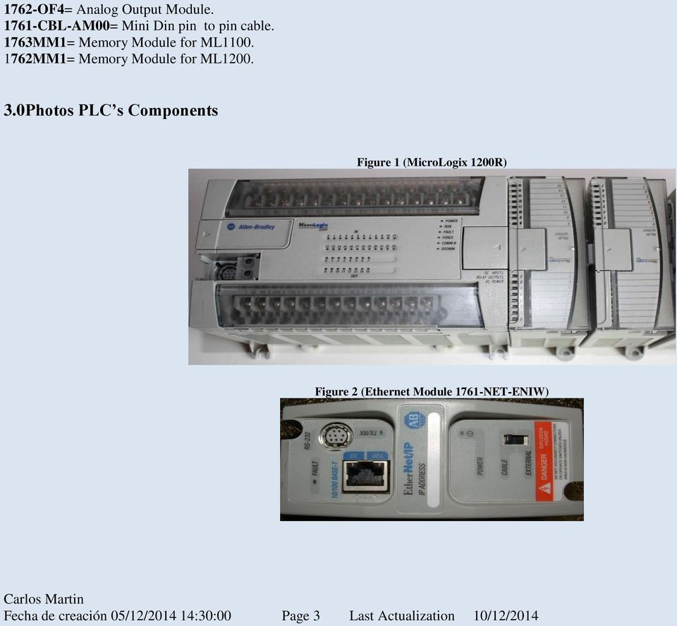0 Photos PLC s Components Figure 1 (MicroLogix 1200R) Figure 2 (Ethernet
