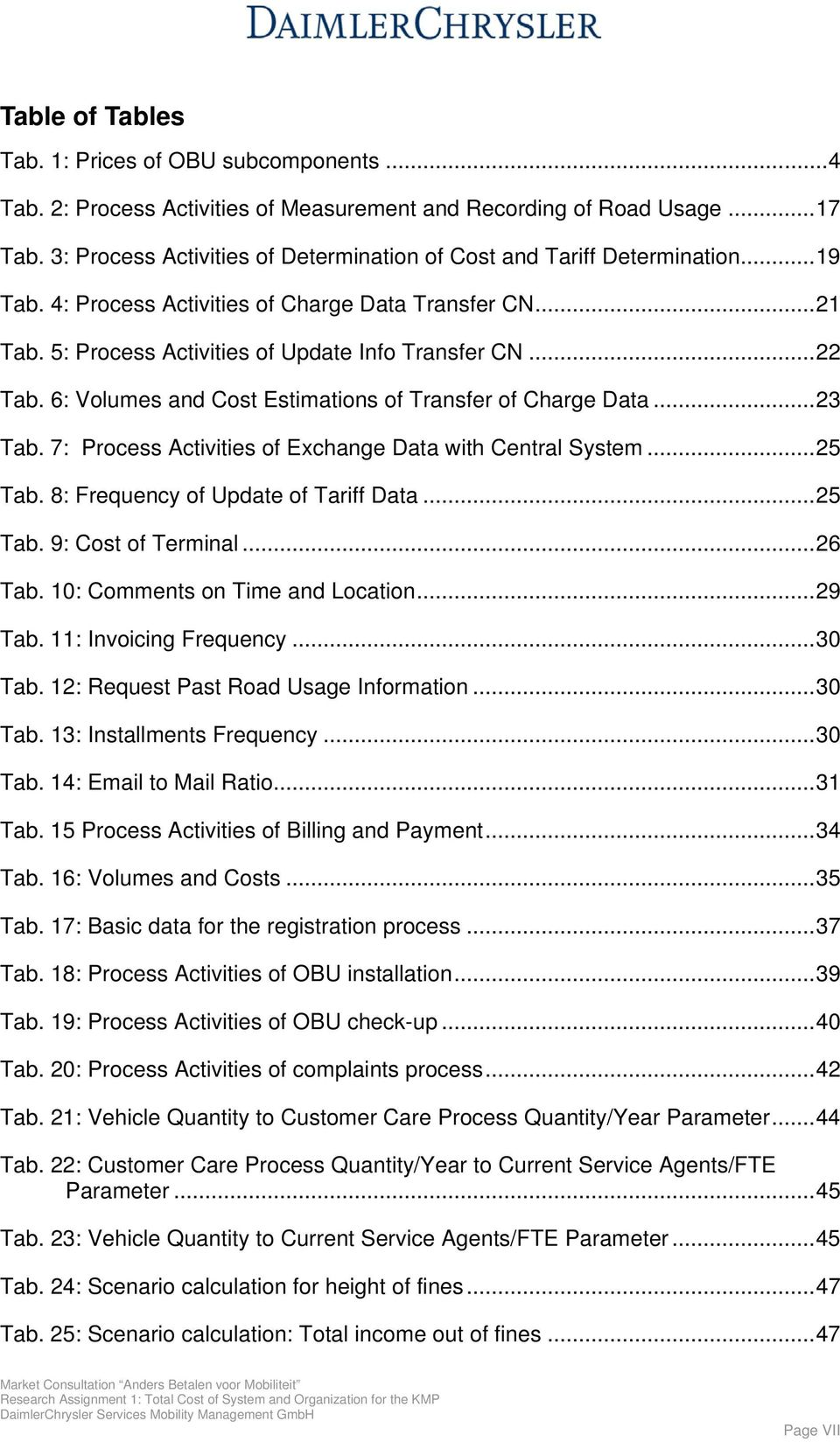 6: Volumes and Cost Estimations of Transfer of Charge Data...23 Tab. 7: Process Activities of Exchange Data with Central System...25 Tab. 8: Frequency of Update of Tariff Data...25 Tab. 9: Cost of Terminal.
