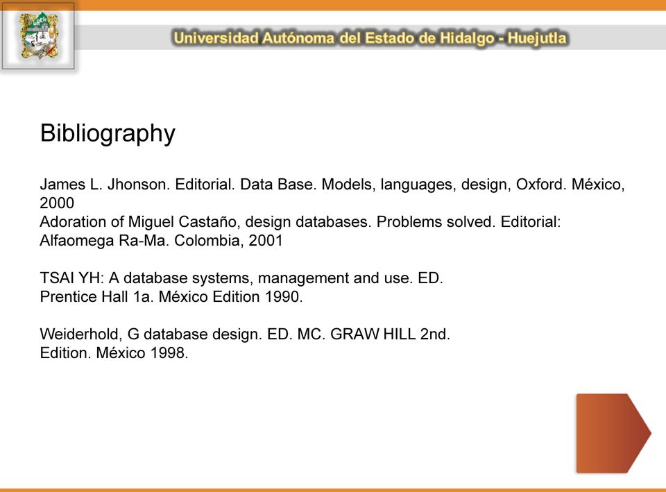 Editorial: Alfaomega Ra-Ma. Colombia, 2001 TSAI YH: A database systems, management and use.