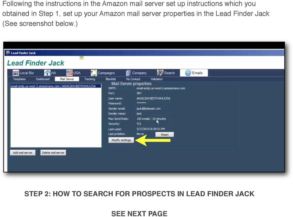 mail server properties in the Lead Finder Jack (See screenshot
