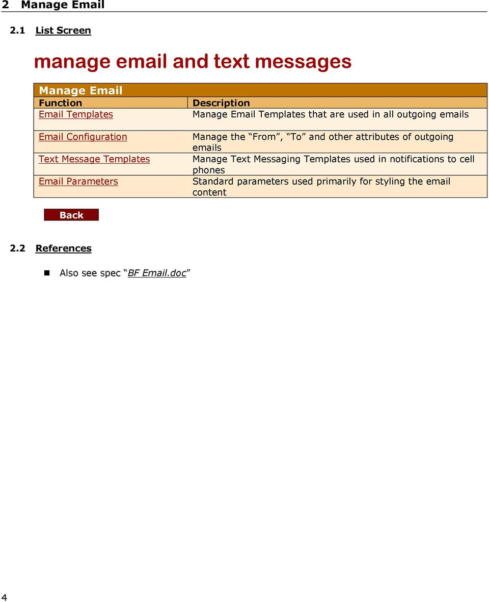 Templates Email Parameters Descriptin Manage Email Templates that are used in all utging emails Manage the Frm,