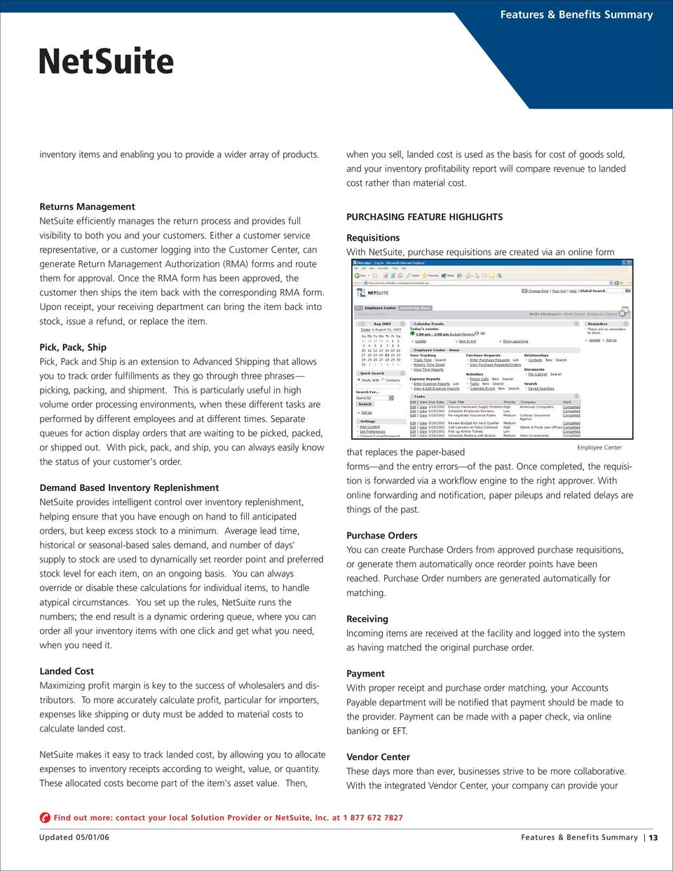 Features & Benefits Summary  Why NetSuite? - PDF