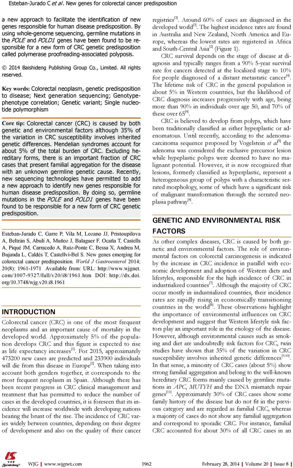 proofreading-associated polyposis. 2014 Baishideng Publishing Group Co., Limited. All rights reserved.