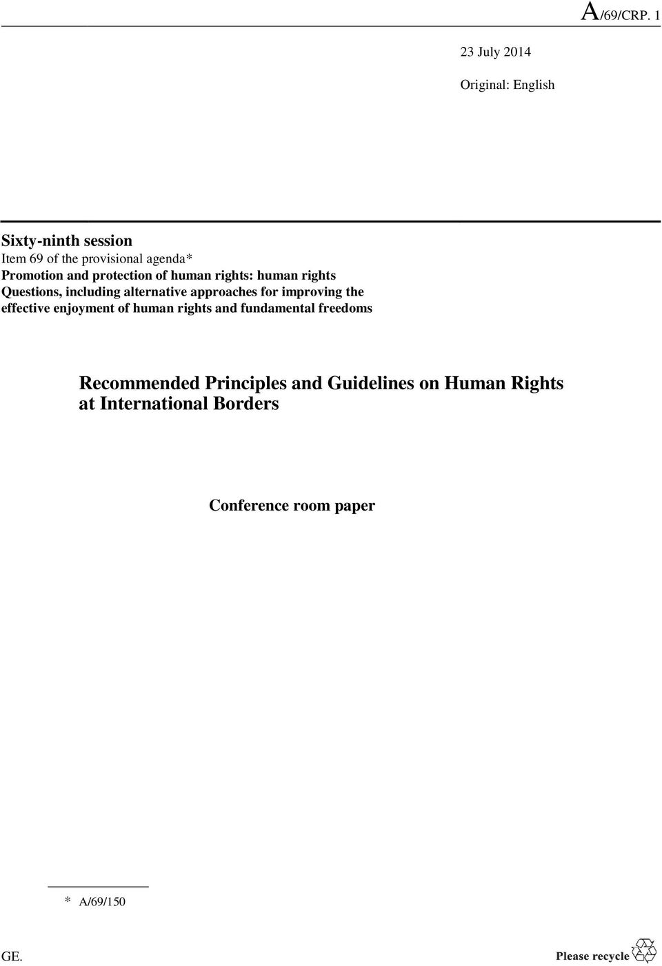 approaches for improving the effective enjoyment of human rights and fundamental freedoms