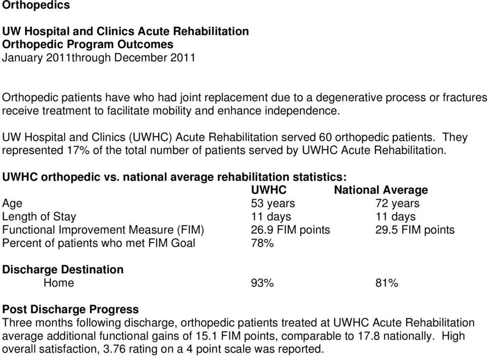 They represented 17% of the total number of patients served by UWHC Acute Rehabilitation. UWHC orthopedic vs.
