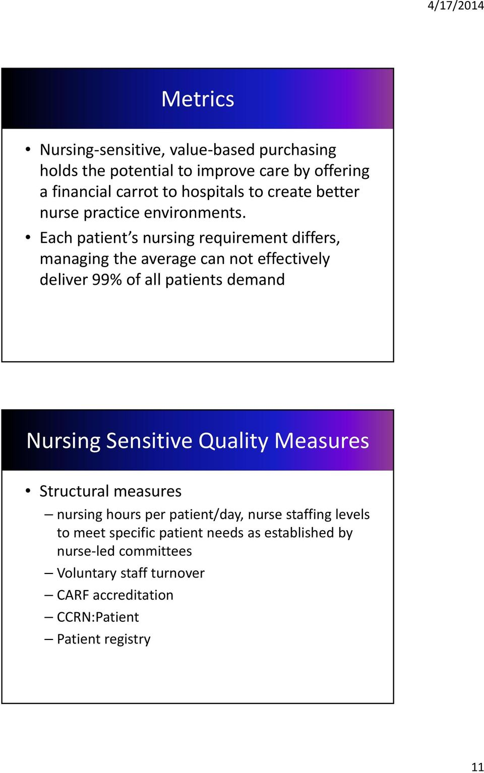 Each patient s nursing requirement differs, managing the average can not effectively deliver 99% of all patients demand Nursing Sensitive