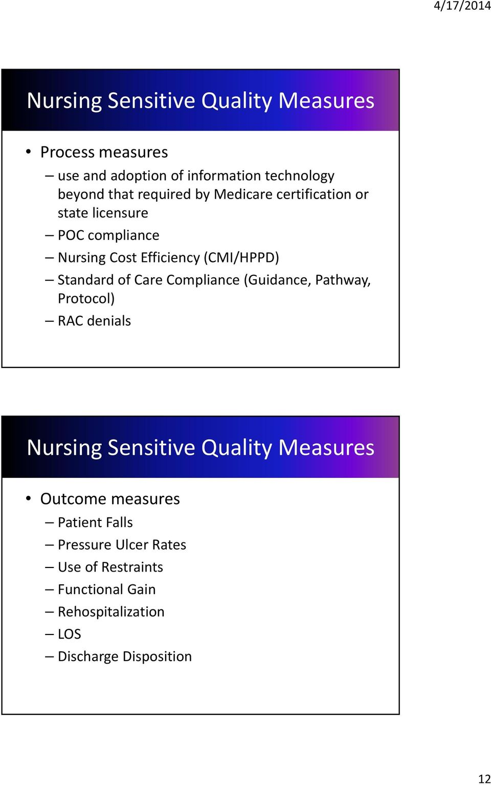 Standard of Care Compliance (Guidance, Pathway, Protocol) RAC denials Nursing Sensitive Quality Measures