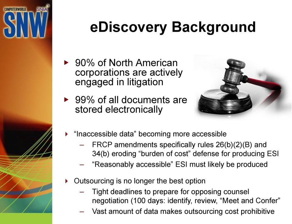 cost defense for producing ESI Reasonably accessible ESI must likely be produced Outsourcing is no longer the best option Tight