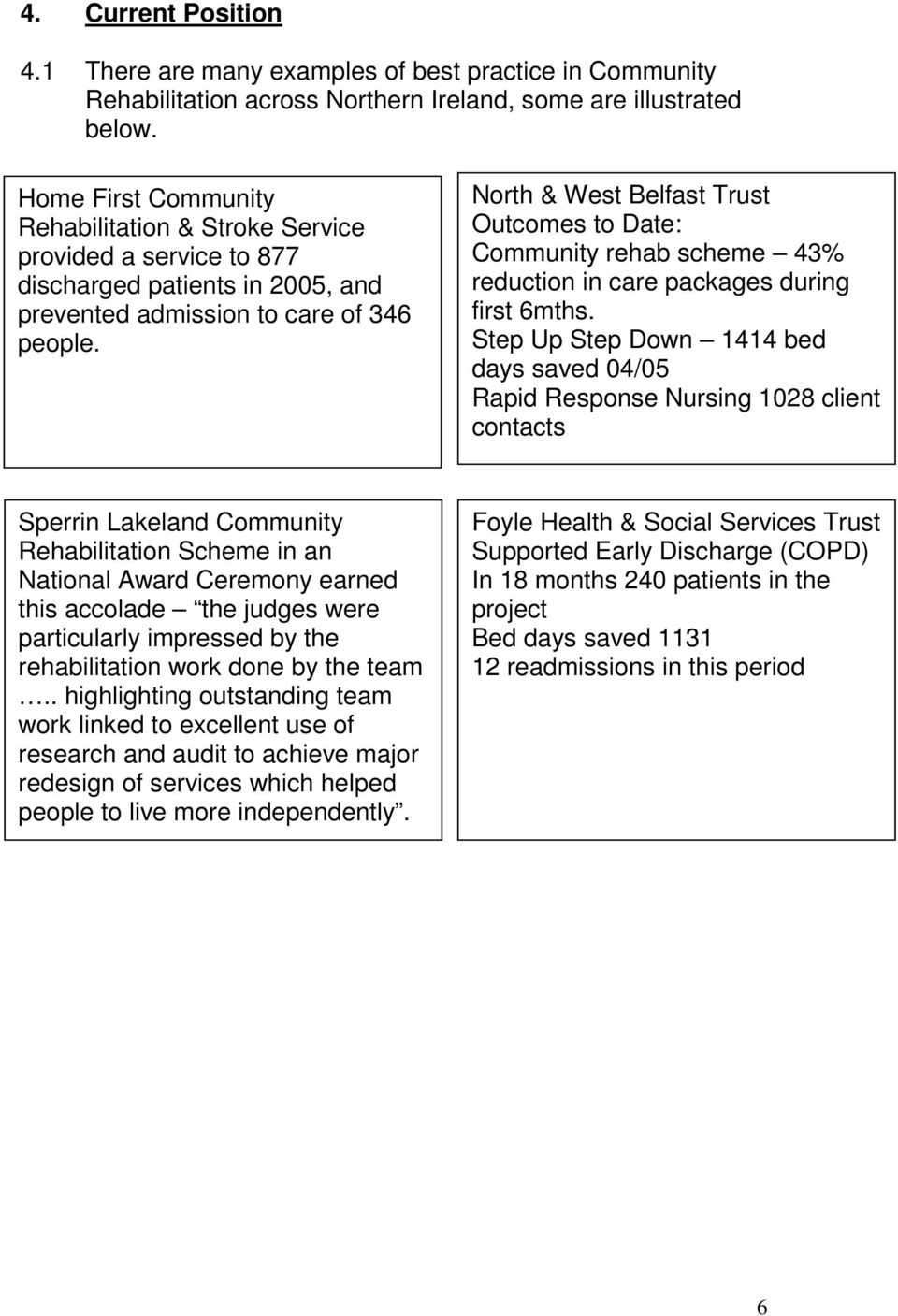 North & West Belfast Trust Outcomes to Date: Community rehab scheme 43% reduction in care packages during first 6mths.
